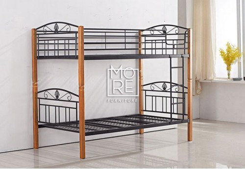 P1025A Metal & Timber Single Bunk Bed Beech