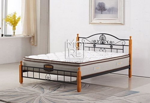 P001A Metal & Timber Bed Frame Beech