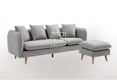 DB Velvet Sectional Fabric 3 Seater Chaise Light Grey