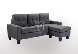 EVE Compact Firm Chaise&Ottoman Convertible Lounge Dark Grey
