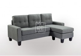 EVE Compact Firm Chaise&Ottoman Convertible Lounge Light Grey