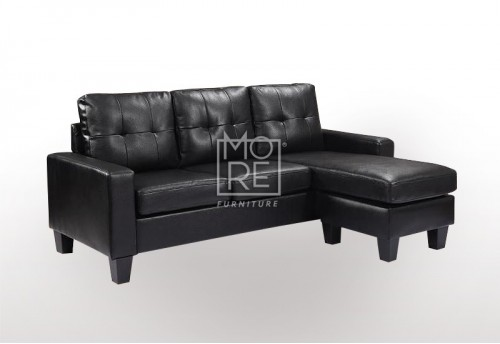 EVE Compact Firm Chaise&Ottoman Convertible Lounge Black